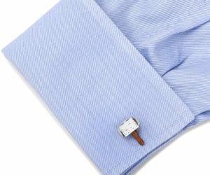 Thor hammer cuff links on shirt