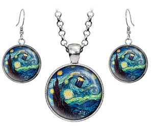 dr who necklace and earrings